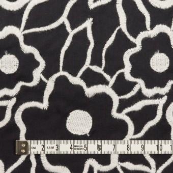 ポリエステル×フラワー(ブラック&ホワイト)×タフタ刺繍 サムネイル3
