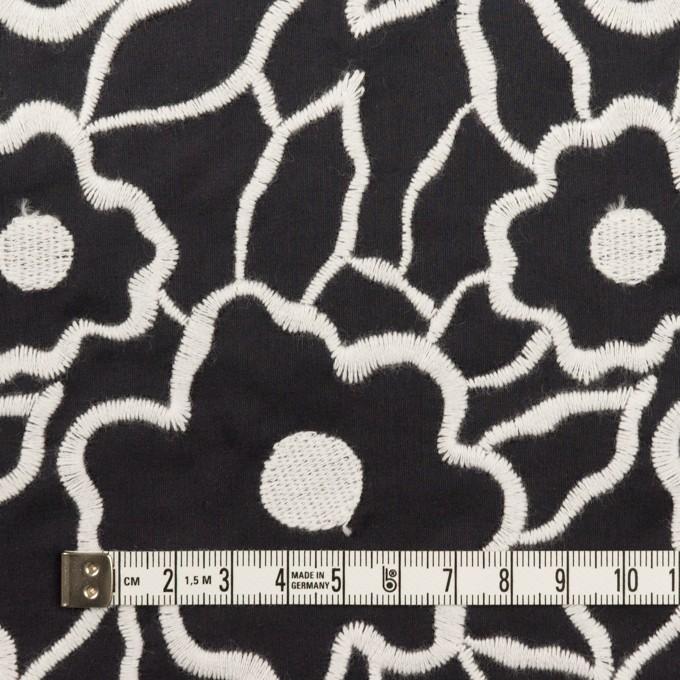ポリエステル×フラワー(ブラック&ホワイト)×タフタ刺繍 イメージ3