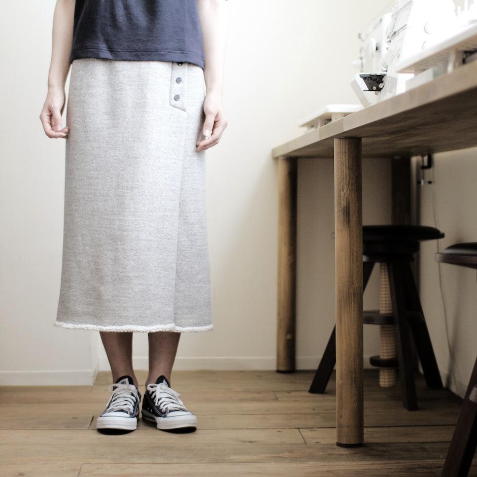 裏毛丸編みニットのスカート