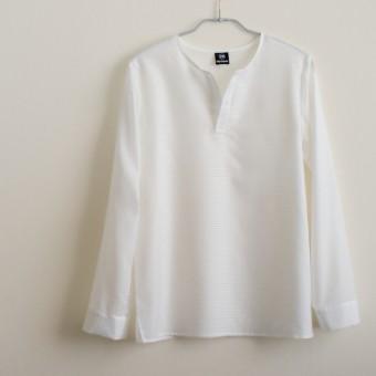 FAB #063 白いボーダージャガードのプルオーバーシャツ(シンプルに風合いを楽しむ白いシャツ)