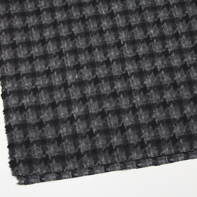 ウール&ポリエステル×チェック(チャコール&ブラック)×千鳥格子_全2色