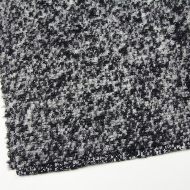 ウール&ポリエステル×モザイク(オフホワイト&ブラック)×ループニット