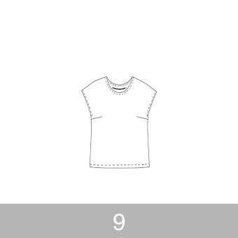 オリジナルパターン#002_フレンチスリーブブラウス_9号