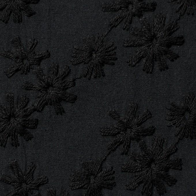 コットン×フラワー(ブラック)×シーチング刺繍(着分) イメージ1