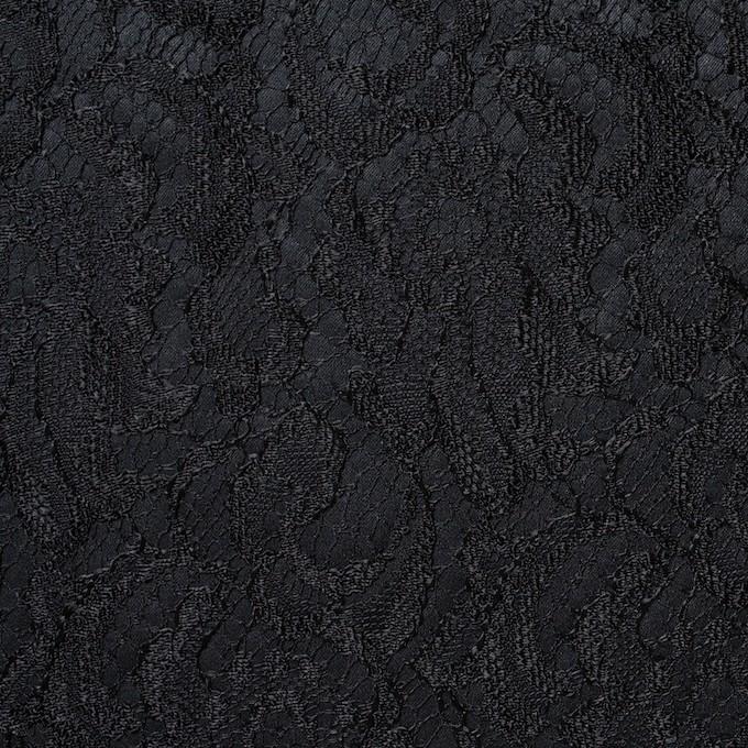ポリエステル×フラワー(ブラック)×サテン&レース_イタリア製 イメージ1