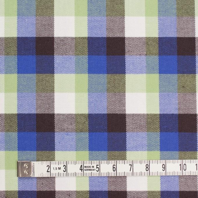 コットン×チェック(イエローグリーン&ロイヤルブルー)×サージ_イングランド製 イメージ4