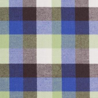 コットン×チェック(イエローグリーン&ロイヤルブルー)×サージ_イングランド製 サムネイル1