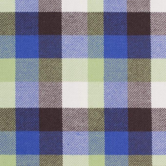 コットン×チェック(イエローグリーン&ロイヤルブルー)×サージ_イングランド製 イメージ1