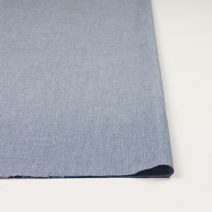 コットン×無地(ブルー)×ヘリンボーンワッシャー_イタリア製 イメージ3