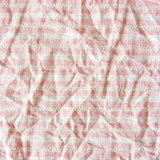 コットン&リネン×ボーダー(ピンクベージュ)×かわり織ワッシャー イメージ1