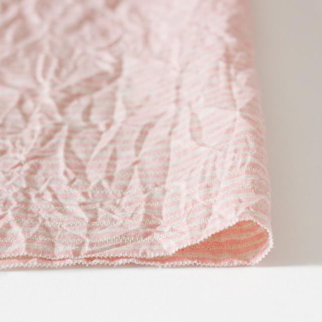 コットン&リネン×ボーダー(ピンクベージュ)×かわり織ワッシャー イメージ3