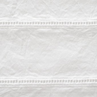 コットン×はしごボーダー(オフホワイト)×シーチング刺繍ワッシャー サムネイル1