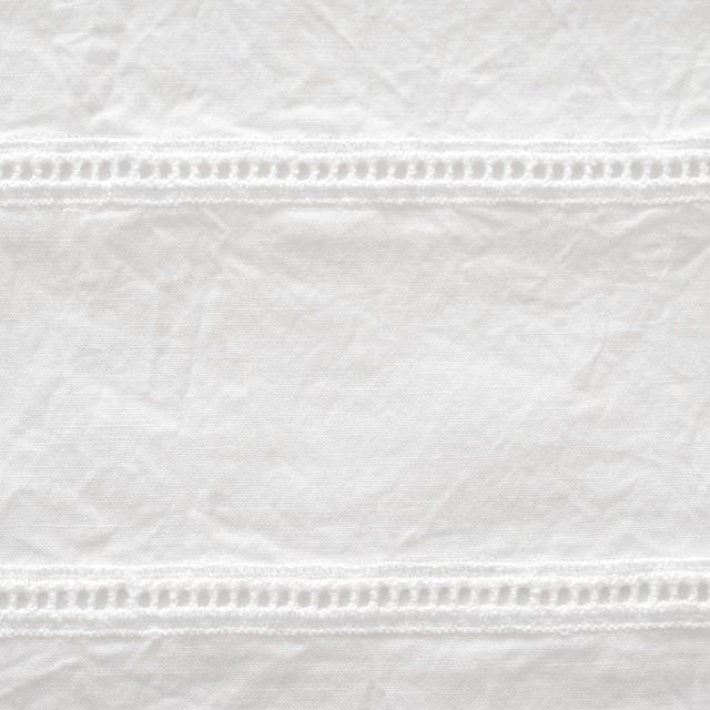 コットン×はしごボーダー(オフホワイト)×シーチング刺繍ワッシャー イメージ1