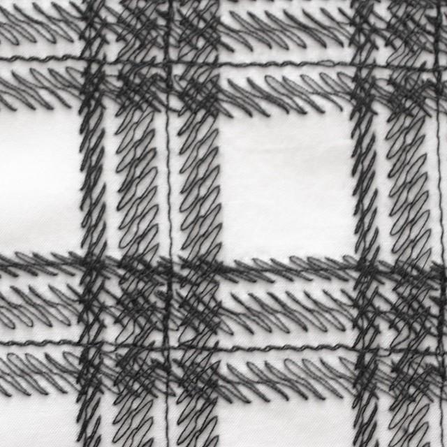 コットン×チェック(オフホワイト)×ローン刺繍_全3色 イメージ1