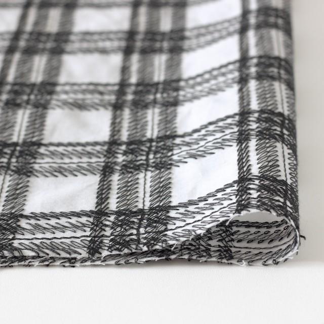 コットン×チェック(オフホワイト)×ローン刺繍_全3色 イメージ3