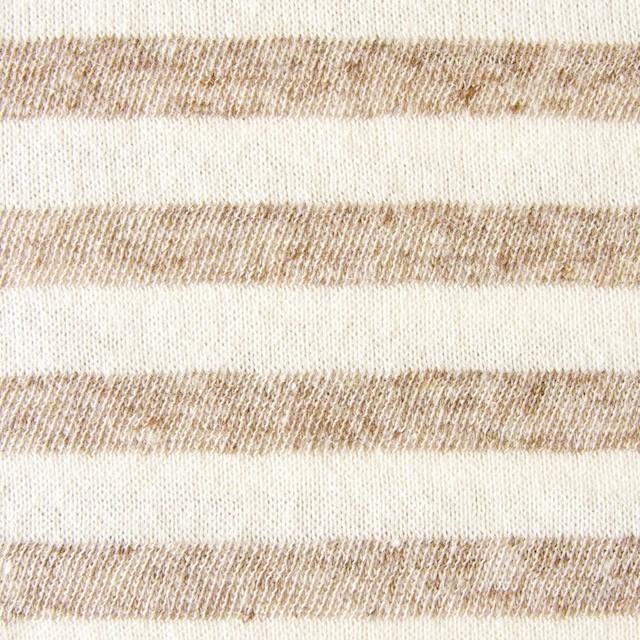 コットン&リネン×ボーダー(カフェオレ)×天竺ニット イメージ1
