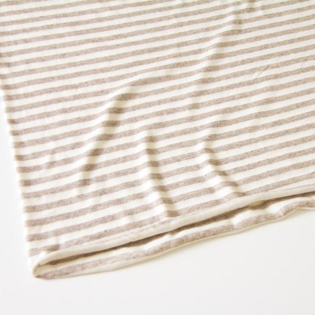 コットン&リネン×ボーダー(カフェオレ)×天竺ニット イメージ2