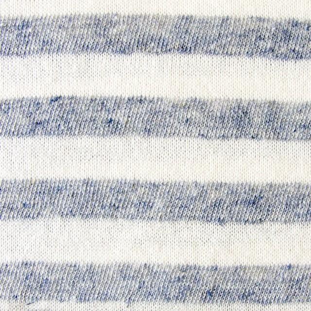 コットン&リネン×ボーダー(ライトスチール)×天竺ニット イメージ1