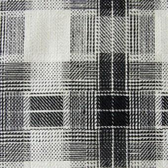 リネン×チェック(白黒)×かわり織り サムネイル1