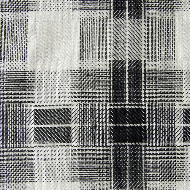 リネン×チェック(白黒)×かわり織り イメージ1