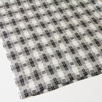 リネン×チェック(白黒)×かわり織り サムネイル2