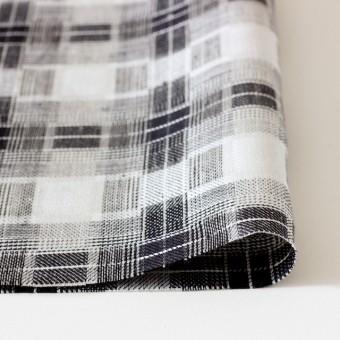 リネン×チェック(白黒)×かわり織り サムネイル3