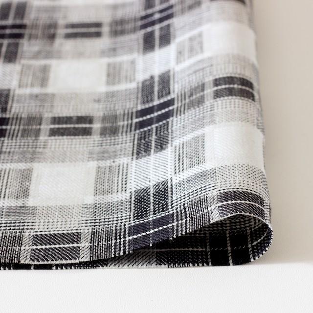 リネン×チェック(白黒)×かわり織り イメージ3