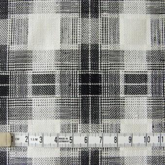 リネン×チェック(白黒)×かわり織り サムネイル4