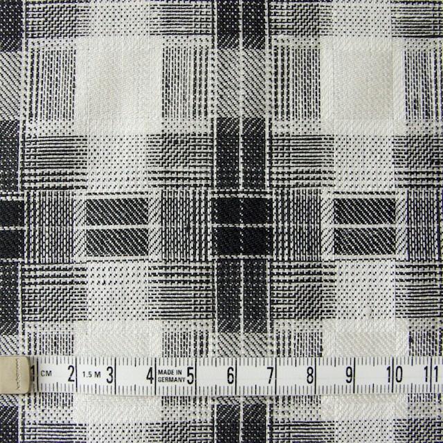 リネン×チェック(白黒)×かわり織り イメージ4