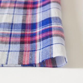 コットン&リネン×タータンチェック(ライトブルーミックス)×薄サージ_全4色 サムネイル3