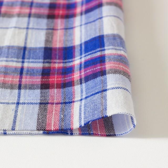 コットン&リネン×タータンチェック(ライトブルーミックス)×薄サージ_全4色 イメージ3