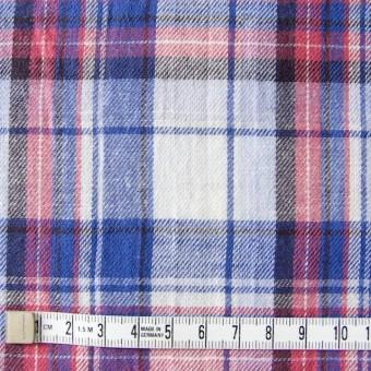 コットン&リネン×タータンチェック(ライトブルーミックス)×薄サージ_全4色 サムネイル4