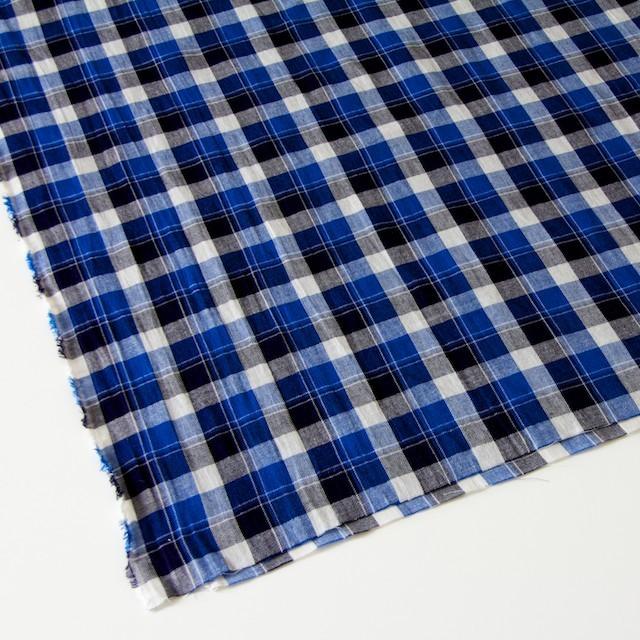 コットン&リネン×タータンチェック(ブルーミックス)×薄サージ_全4色 イメージ2