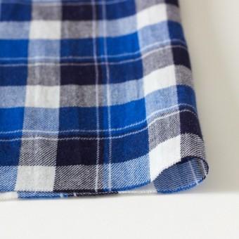 コットン&リネン×タータンチェック(ブルーミックス)×薄サージ_全4色 サムネイル3