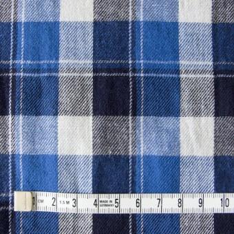 コットン&リネン×タータンチェック(ブルーミックス)×薄サージ_全4色 サムネイル4