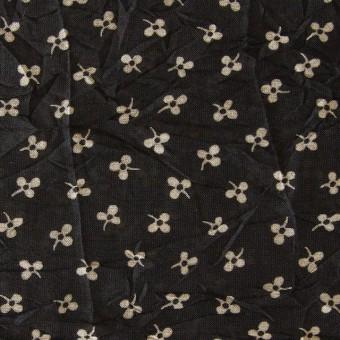 コットン×小花プリント(ブラック)×ボイルワッシャー_イタリア製 サムネイル1