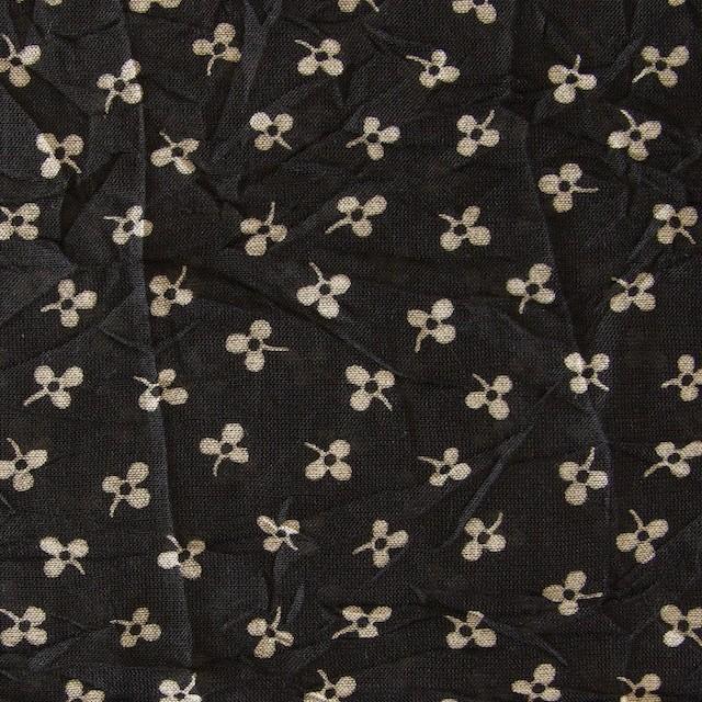 コットン×小花プリント(ブラック)×ボイルワッシャー_イタリア製 イメージ1