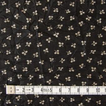 コットン×小花プリント(ブラック)×ボイルワッシャー_イタリア製 サムネイル4