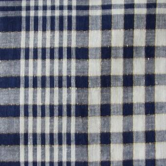 コットン&リネン×マドラスチェック(ネイビー)×ローン_全3色 サムネイル1