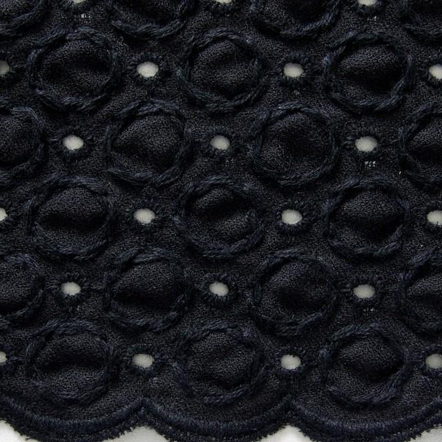 コットン&ポリエステル×無地(ブラック)×ジョーゼット刺繍 イメージ1