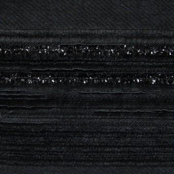 ビスコース&ポリアミド混×無地(ブラック)×ジャガード_イタリア製 サムネイル1