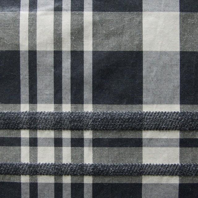 ポリエステル&ウール混×チェック(ブラックミックス)×タフタ_イタリア製 イメージ1