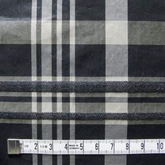 ポリエステル&ウール混×チェック(ブラックミックス)×タフタ_イタリア製 サムネイル4