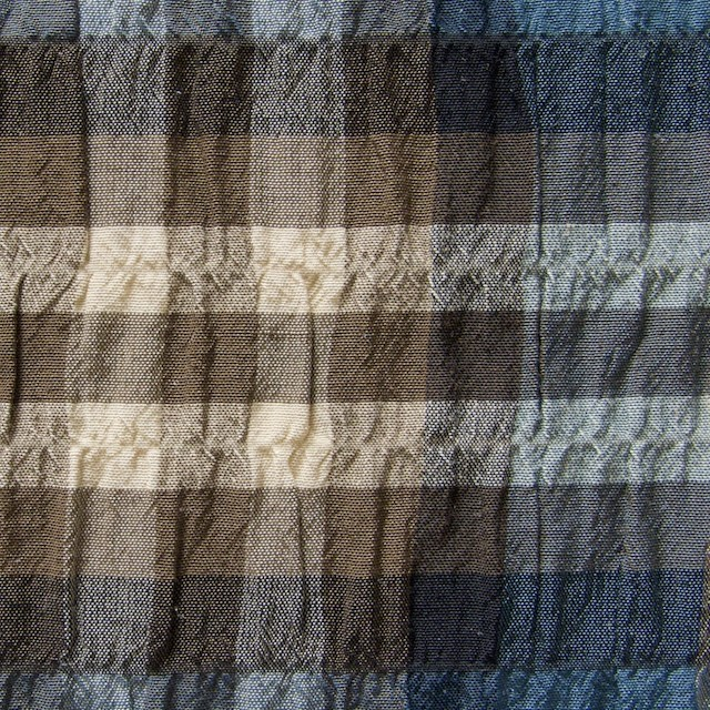 キュプラ&コットン混×チェック(ブルーブラウンミックス)×シャーリング イメージ1