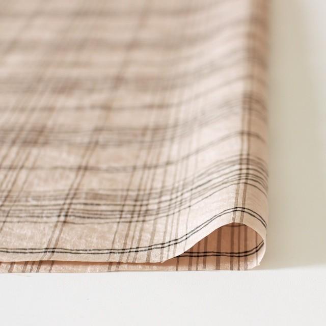 シルク&ナイロン×チェック(ピンクベージュ)×タフタ イメージ3