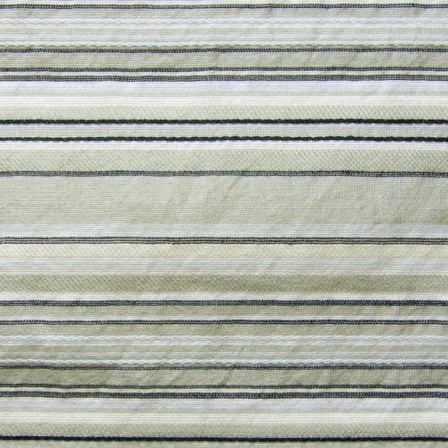 シルク&コットン×ボーダー(カーキベージュミックス)×オーガンジー イメージ1