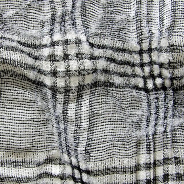 リネン&ウール×チェック(白黒)×ボイルワッシャー イメージ1