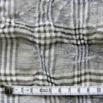 リネン&ウール×チェック(白黒)×ボイルワッシャー サムネイル4