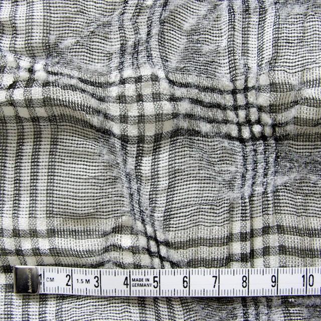 リネン&ウール×チェック(白黒)×ボイルワッシャー イメージ4