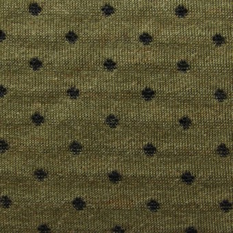 アクリル&ウール×ドット&ボーダー(オリーブ)×天竺Wニット_全2色 サムネイル1
